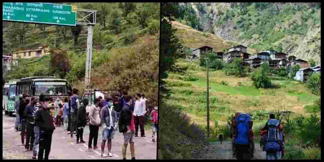 "alt=""uttarakhand migrant people reached their village"""