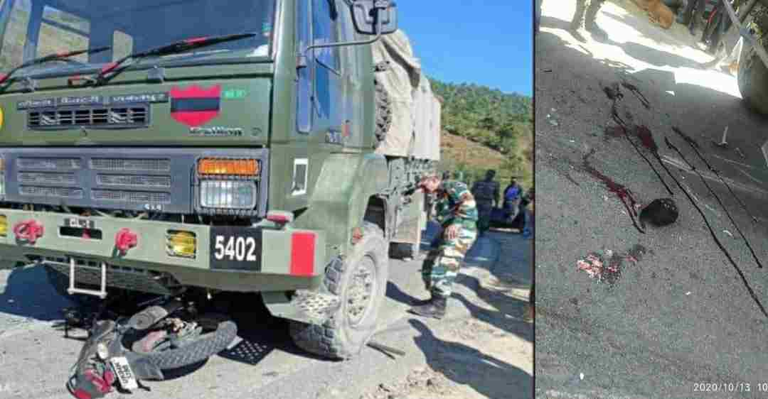 champwat road Accident of bike by military truck, person death on the spot in uttarakhand